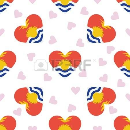 Kiribati independence day seamless pattern. Patriotic background with country national flag in the shape of heart Vector illustration. Vector
