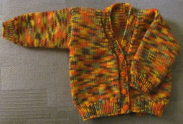 "Multi-coloured Cardigan for Newborn Baby (0-3 months) 18"" chest £6.25"