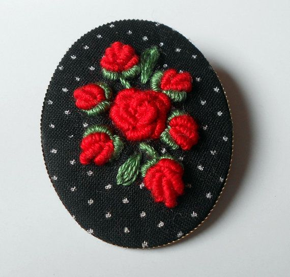 Embroidered brooch hand embroidered jewelry by RedWorkStitches, $20.00