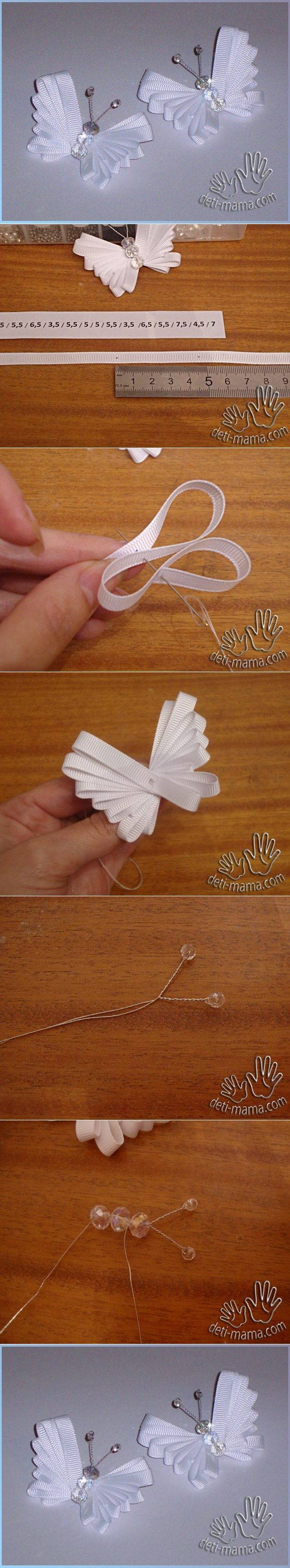 broche mariposa usando cinta - ribbon butterfly tutorial