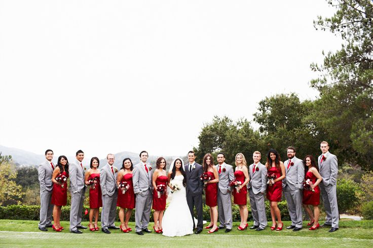 This red, black and grey wedding is probably one of the most beautiful ones I have ever seen.  It's worth checking out the other pictures.