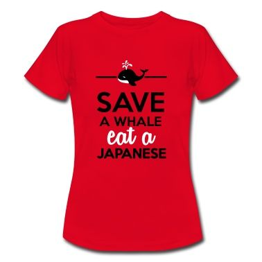 Essen & Trinken - Save a Whale eat a Japanese T-Shirts Frauen Bio-T-Shirt  mit V-Ausschnitt von Stanley & Stella - Rot