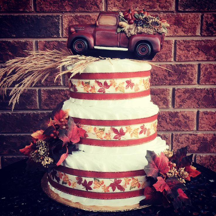 Fall Harvest Diaper Cake by Baby D Cakes