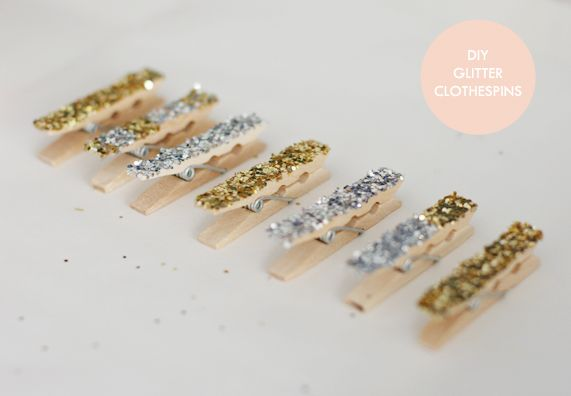 DIY glitter clothespins (perfect for attaching a magnet and putting up notes and cards on the fridge!)