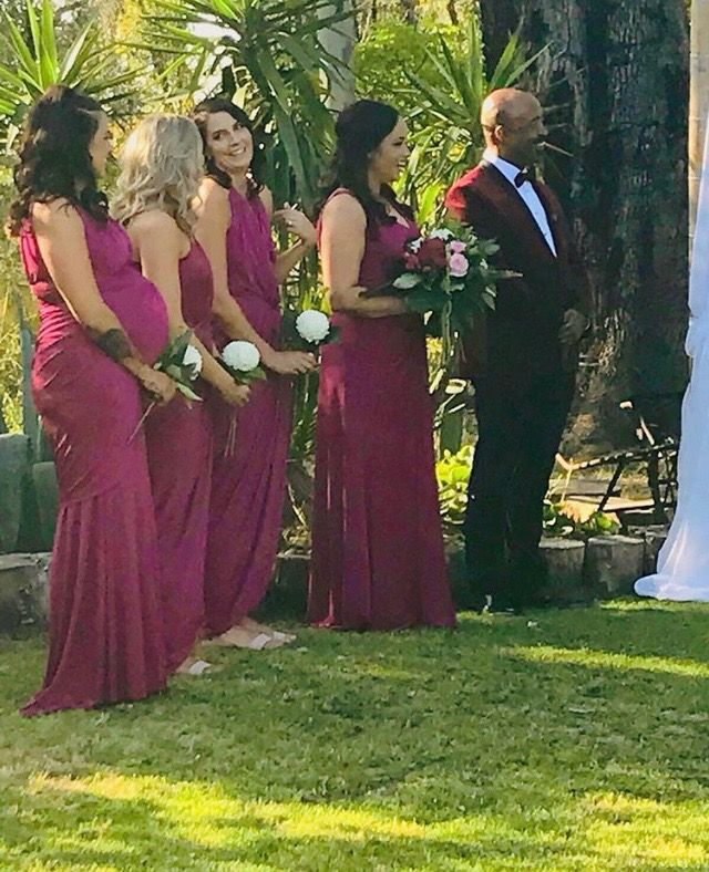 Gorgeous bridesmaids wearing our Pia Gladys Perey collection. 4 different styles in magenta colour. Stunning. Available now at Nora and Elle.