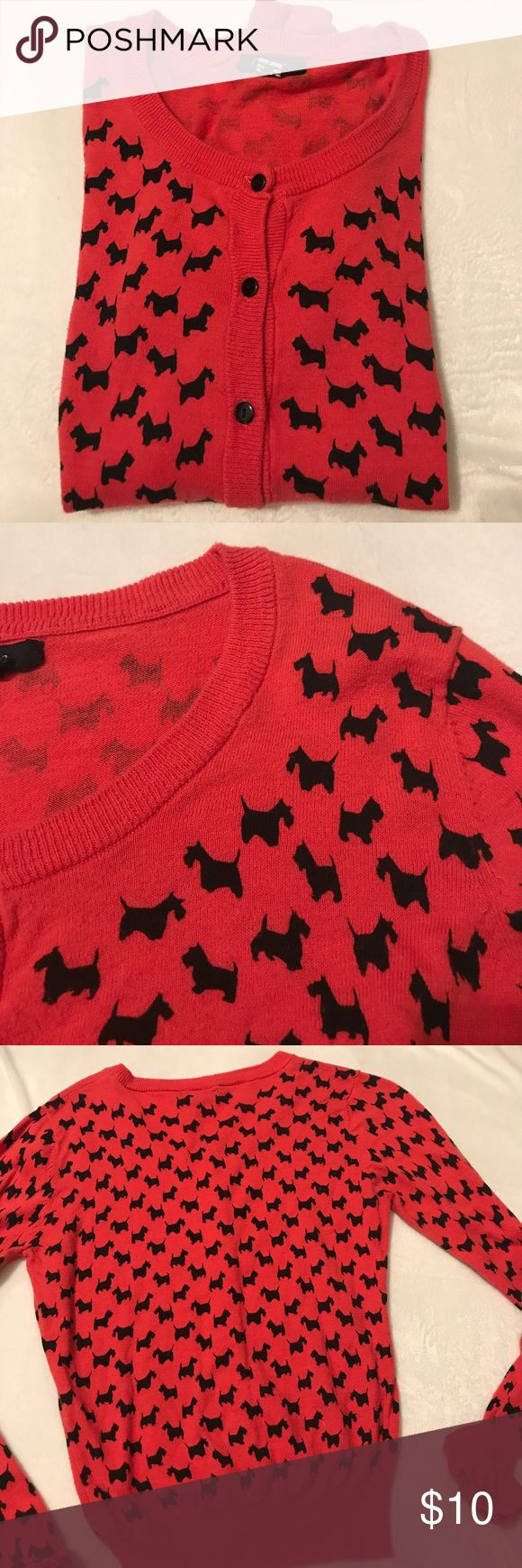 Scotty dog cardi Cute vintage style red cardi with Scotty dogs. Junior size L (I would say a ladies M) cute with a black shirt underneath and a black skirt or pants. Very sassy and preppy!! Great condition and smoke free home Timing Sweaters Cardigans