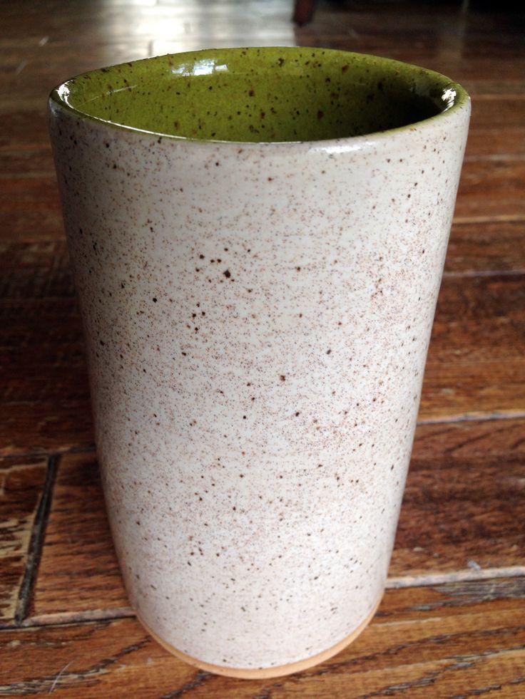 my pottery - glaze - outside  coyote oatmeal inside  amaco deep olive speckle