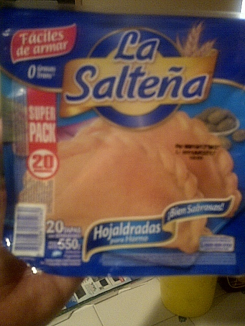 La Saltena empanada shells. Found in any Argentine food store or international food store.