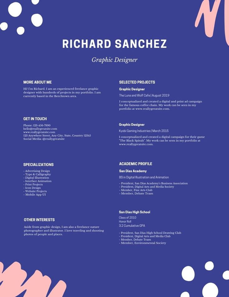 Blue brush strokes minimalist designer creative resume