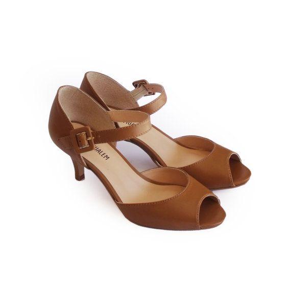 Peep toe shoes Camel pumps Camel peep toe heels by KerenMualem