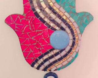 Stained glass mosaic Hamsa  Hand of God