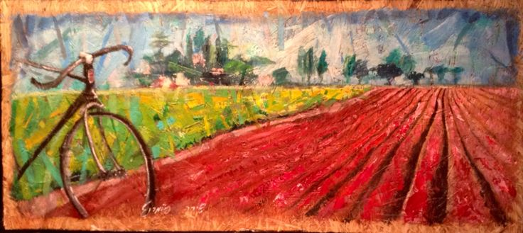 "Art by Shira Pomeranz. Acrylic on OSB. 120/55 cm. 48/21.5 "" .  Davidson NC."