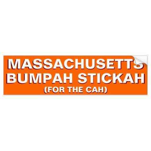 Massachusetts bumpah stickah funny bumper sticker