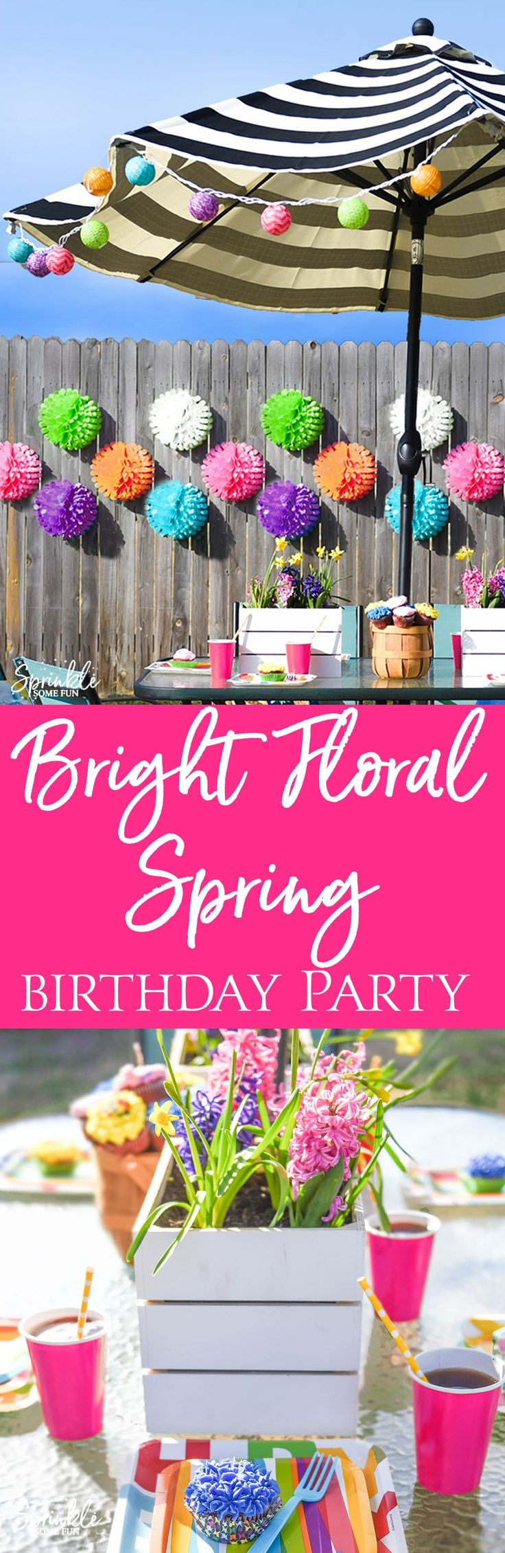 This Bright Floral Spring Birthday Party is bursting with color and floral touches!  A mix of outdoor decorations and bright party supplies is a great way to celebrate outdoors. via @sprinklesomefun