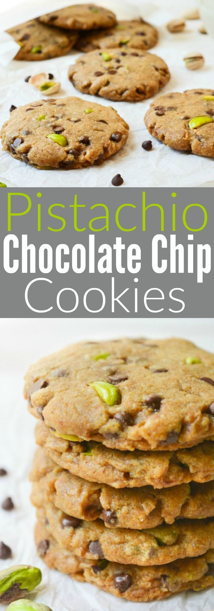 Vegan Pistachio Chocolate Chip Cookies are loaded with salty pistachios and mini chocolate chips. The sweet/salty combo makes them an ideal baked treat! They're egg-free & dairy-free! #vegan #cookies #eggfree #dairyfree #veganbaking @WYGYP