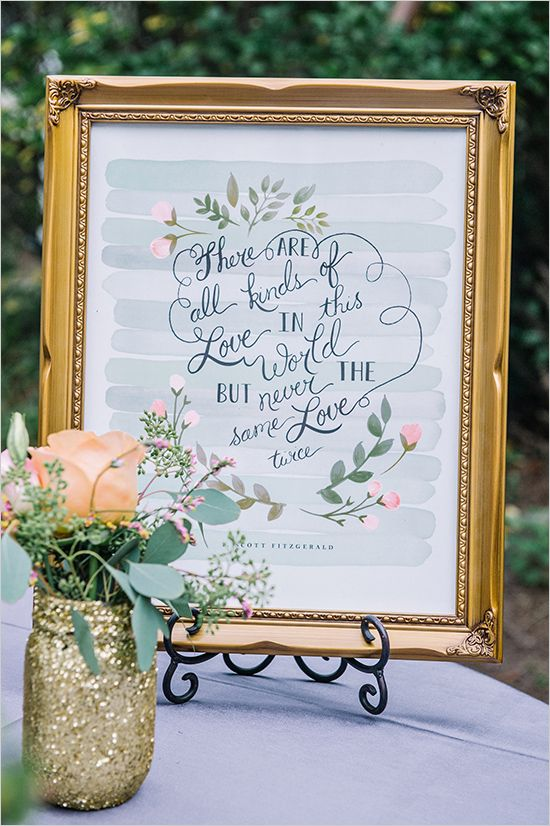 All kinds of love quote sign at wedding. Captured By: Dear Wesleyann #weddingchicks http://www.weddingchicks.com/2014/06/19/colorful-florida-panhandle-wedding/