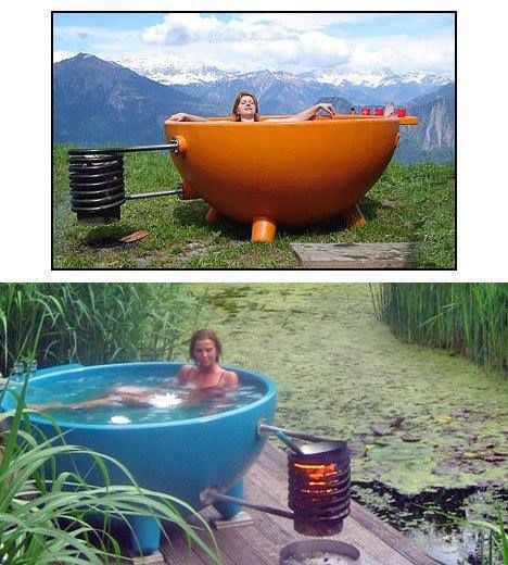 "The DutchTub, a ""low-tech"" jacuzzi that uses a very rudimentary heat exchanger coil to heat the water.   In this way one can easily heat water, even large amounts of water, for survival, emergency or off-grid living conditions of any sort. http://rawforbeauty.com/blog/"