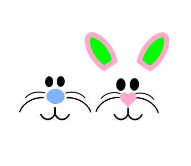 Bunny Face SVG Studio 3 DXF AI ps and pdf by BoodlebugGraphics
