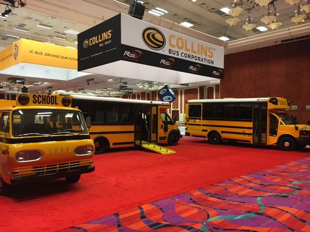 """Today, during the School Transportation News Conference & Trade Show (#STNMagazine) at the #PeppermillResortSpaCasino in #Reno, #Nevada, we bring together #50yearsofinnovation and #safety as we bridge the gap from our 50 year old """"Old #1"""" #schoolbus to the new innovative first of its kind #CollinsBus Low - Floor - Equal access and accessibility for everyone."""