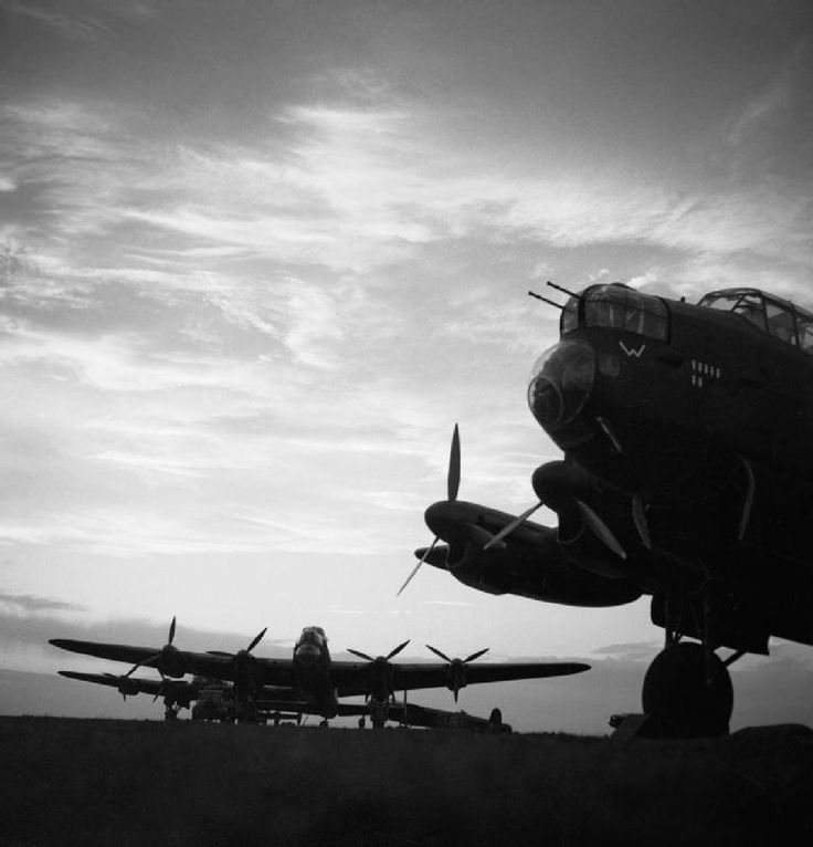 http://ww2today.com/wp-content/uploads/2013/12/Avro-Lancasters.jpg Avro Lancasters of No 57 Squadron, Royal Air Force, lined up in the dusk at Scampton, Lincolnshire, before an operation.
