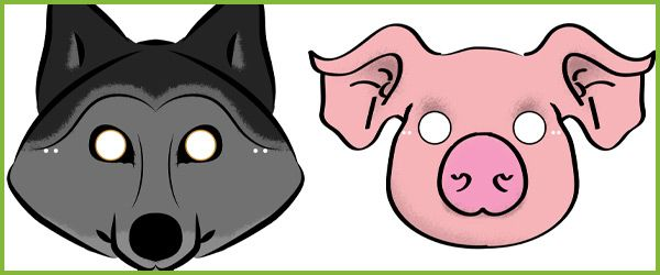 Three Little Pigs Role-Play Masks...A set of 'Three Little Pigs' role-play masks. This resource was designed by Sonia Pihlajaniemi a freelance graphic designer and photographer. #threelittlepigs