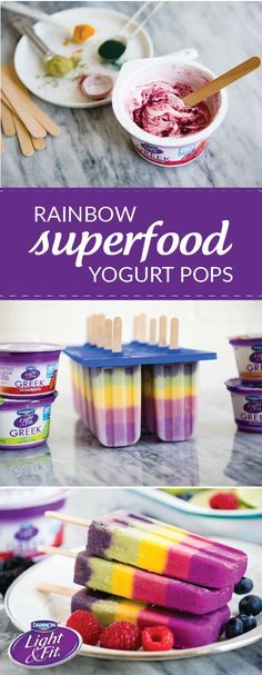Not only do these Rainbow Superfood Yogurt Pops look simply delicious, they're filled with yummy, good-for you ingredients! Including Raspberry, Strawberry, Banana Cream, Key Lime, Blueberry, & Toasted Coconut Dannon®️️ Single Serve Light & Fit®️️ Greek Yogurt, powdered dragon fruit, beet powder, turmeric, matcha, spinach, spirulina, & acai, it's not hard to see where these frozen treats get their delicious flavors. Pick up all the ingredients you need for this recipe at your