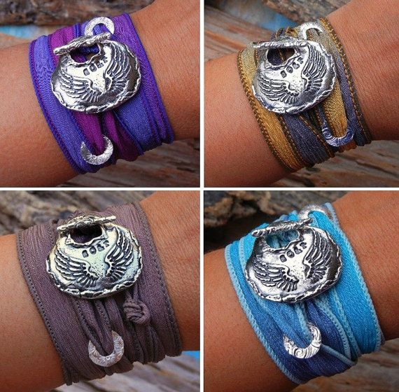 Summer fashion trends in jewelry by HappyGoLicky, Angel Wings Silk Wrap Bracelet, Soar, $49.95 CLICK pic to buy & use coupon code PIN10 to save 10% now!