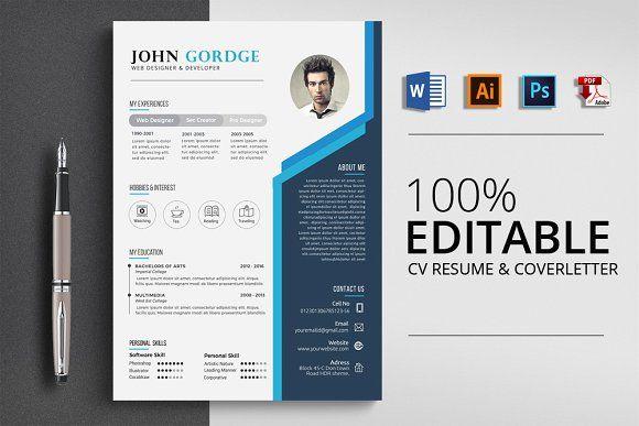 Creative Design Cv Resume Word Resume Words Resume Design Template Resume Template Word