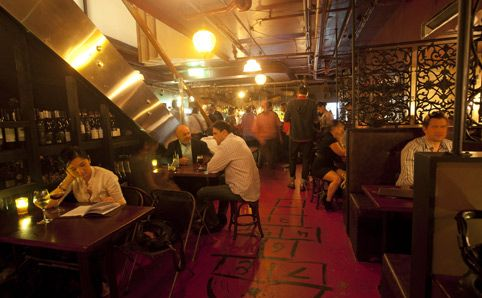 Stitch Bar, 61 York St Sydney. Good small bar in the basement, great food. Must try the hotdogs.