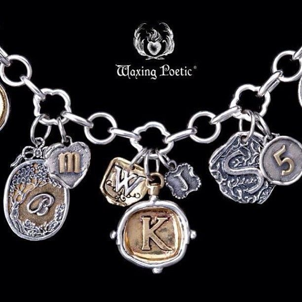Waxing Poetic ~ Quatrefoil Bracelet With Assorted Sterling Silver And Brass Charms