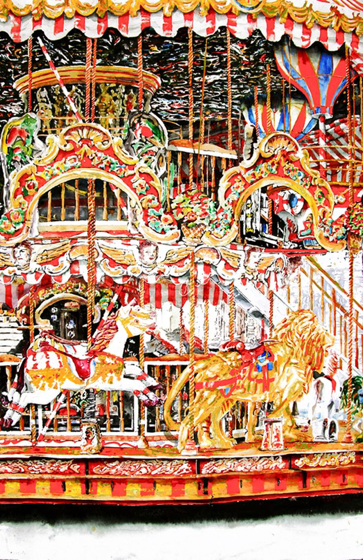 "carousel arles provence (10)  40"" x 26""  micheal zarowsky / watercolour on arches paper / available $2900.00"
