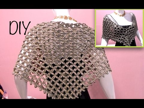 Capa triangular flor punto alargado ganchillo, crochet layer up cape DIY - YouTube