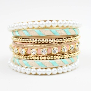 pearls, pink and teal: Pastel, Arm Candy, Fashion, Style, Bracelets, Pink Bangles, Jewelry, Accessories