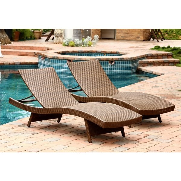 abbyson living palermo outdoor adjustable brown wicker chaise lounge set of 2 overstock