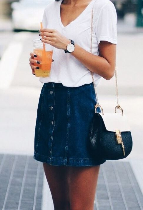 cute spring outfit - button up jean skirt, white tee and chloe bag