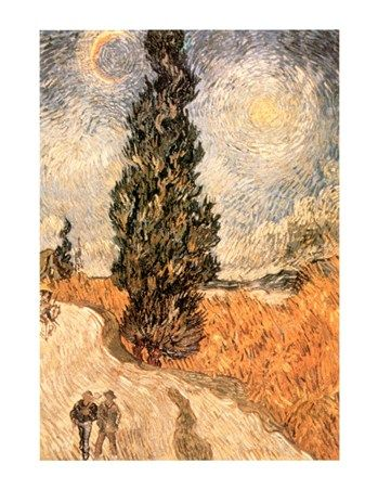 Cypresses and Two Figures Vincent Van Gogh #impressionism