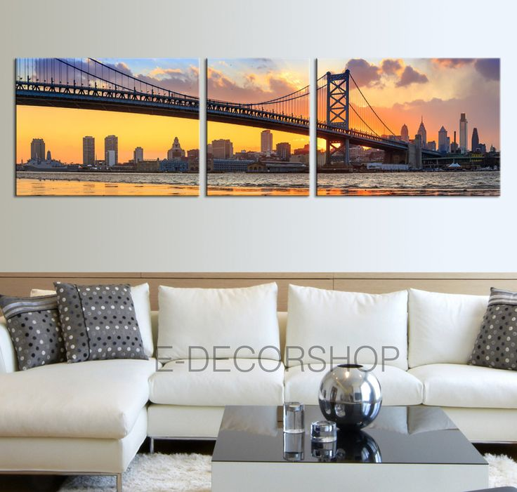 Ben Franklin Bridge and Philadelphia Skyline by Night Wall Art Canvas Print