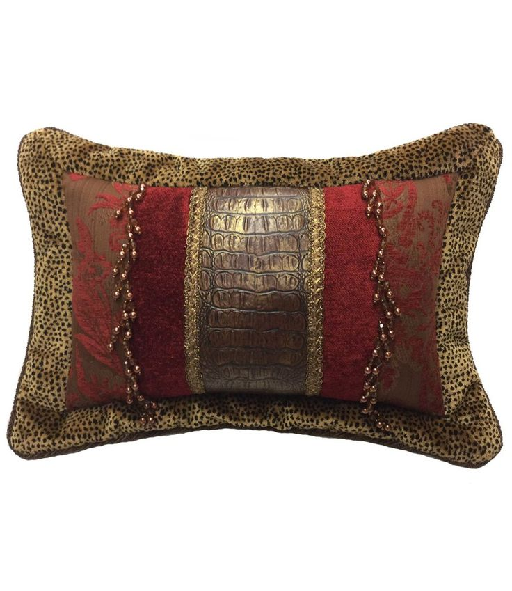 This Decorative Accent Pillow Combines Velvet Cheetah, Red And Brown  Chenille And A Faux Croc