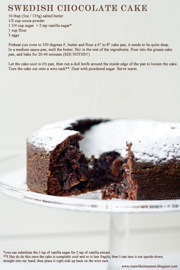 Swedish Chocolate Cake Recipe. This is so easy you feel like a cheat when friends rave about it when you serve it up. My husband isn't a cake fan but was responsible for half of this cake disappearing. So simple and tastes so decedent.