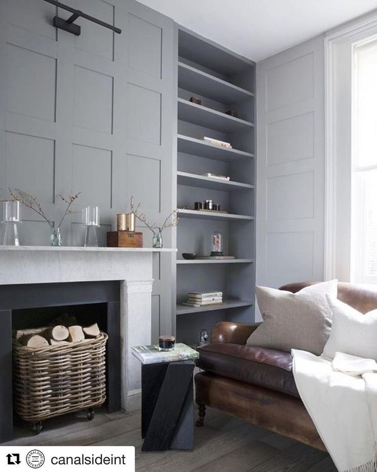 Wainscoting inspiration #inspire #Repost @canalsideint (@get_repost)   Grey  Leather Tones  How well do grey tones look with Aged Leather?! We've got a range of beautiful leather sofas and Armchairs in stock at the moment.  Just visit the aged leather section of our website or our Alexandria showroom.  Top off the look with our luxurious new linen cushions and Rattan baskets  OPEN 7 DAYS | 38 Burrows Rd Alexandria  www.canalside.com.au  Image via Pinterest (source unknown)