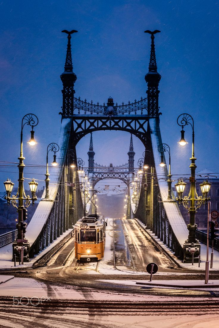 Snowy morning at the Liberty Bridge, Budapest - null