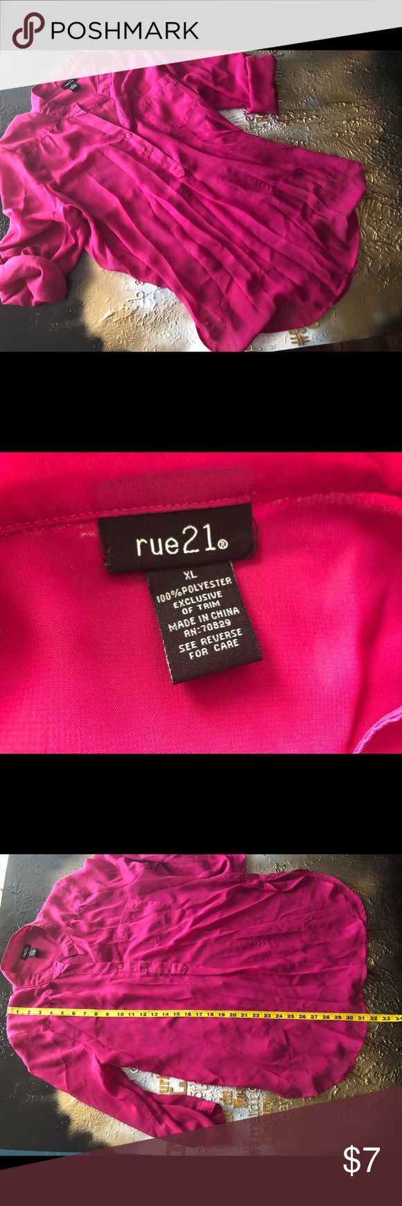 XL🛍Rue 21🛍hot pink blouse Rue 21 blouse  Size:XL Color:Hot Pink Material: 100% polyester exclusive trim  Shirt has a single front pocket, single button detail in back, side slits, can roll sleeves up and button or wear sleeves rolled down  •see pictures for measurement details  •bundle with other items from my closet for additional savings! Rue21 Tops Blouses