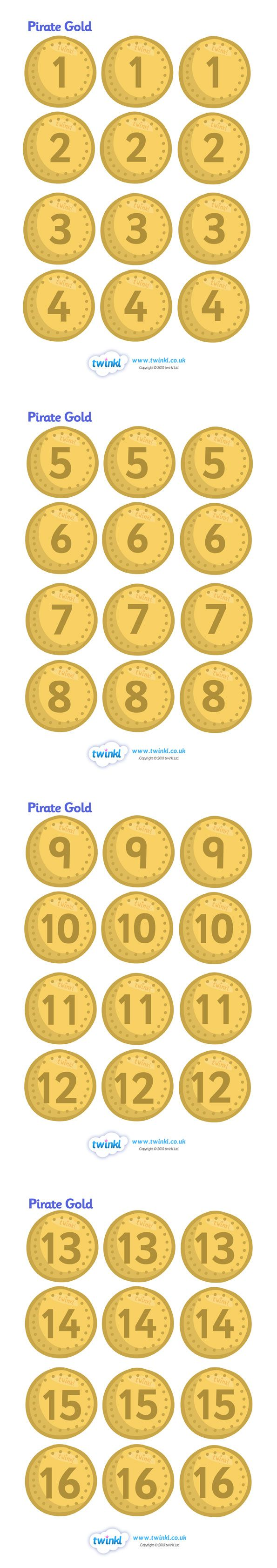 Twinkl Resources >> Pirate Coins >> Classroom printables for Pre-School, Kindergarten, Elementary School and beyond! Activities, Pirates