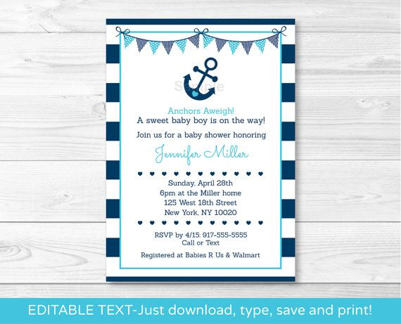 Hey, I found this really awesome Etsy listing at https://www.etsy.com/listing/221972217/nautical-anchor-baby-shower-invitation