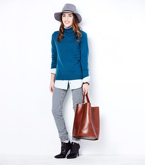 @Who What Wear - For weekend                 The tried-and-true jeans and a sweater combination is made more interesting by layering a button-down under the chunky turtleneck. Make sure the collar is big enough to peek out of the top and that the jeans are slim fitting. Add a hat and finish with a louche leather bag in a warm hue.      Janessa Leone Victoria Hat ($170) in Oxford Mix   Express Light Wash Denim Boyfriend Shirt ($60)   LL Bean Classic Cashmere Turtleneck ($129) in Spruce …
