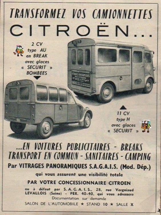 CITROËN 2CV Type AU et Utilitaire Type H Vieille publicité française, vantant les possibilitées de transformation de ces 2 véhicules. Véhicules publicitaires avec vitrages panoramiques S.A.G.A.I.S.
