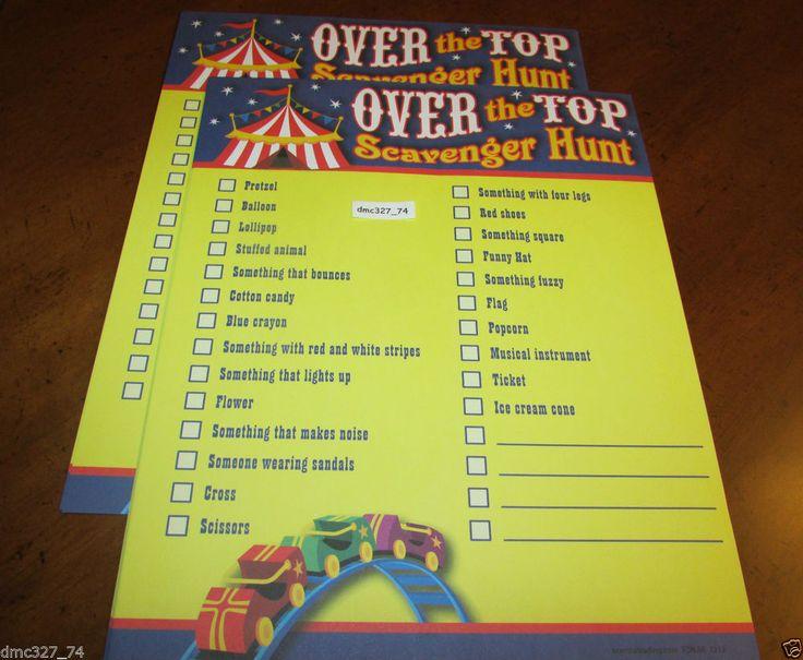 CIRCUS Carnival Fair BIG TOP Party Game Activity SCAVENGER ...