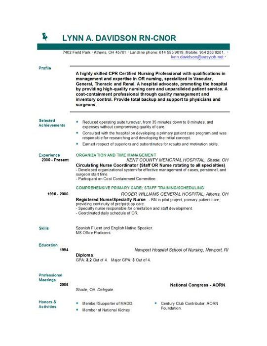 Pediatric Nurse Resume Objective -    wwwresumecareerinfo - oncology nurse resume