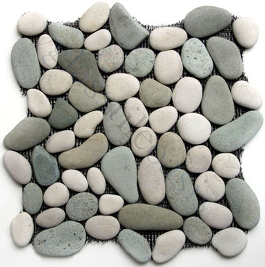 river rocks shower tiles