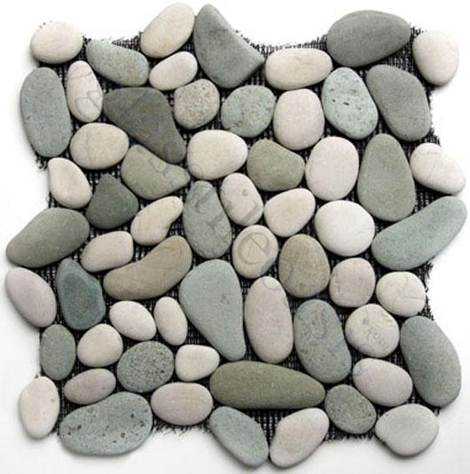 river rocks shower tiles